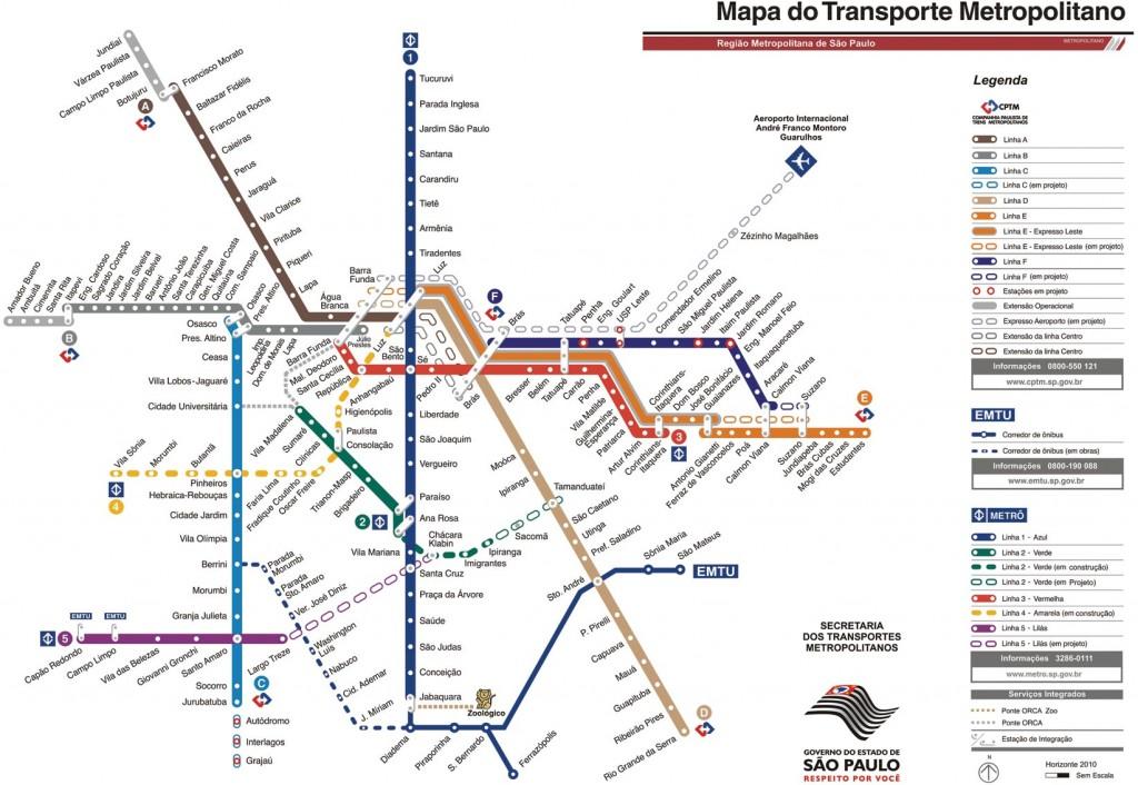 Mapa do metro de São paulo