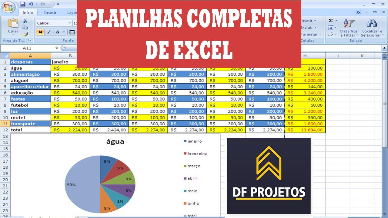 Planilhas do Excel completas!