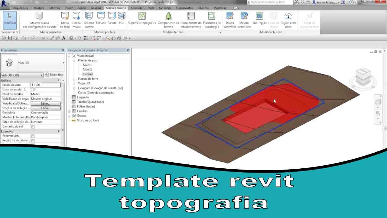 Template revit topografia cuidar do projetos efazer de maneira certa a topografia do terreno passa elevações do proprio terreno e a ser projetado