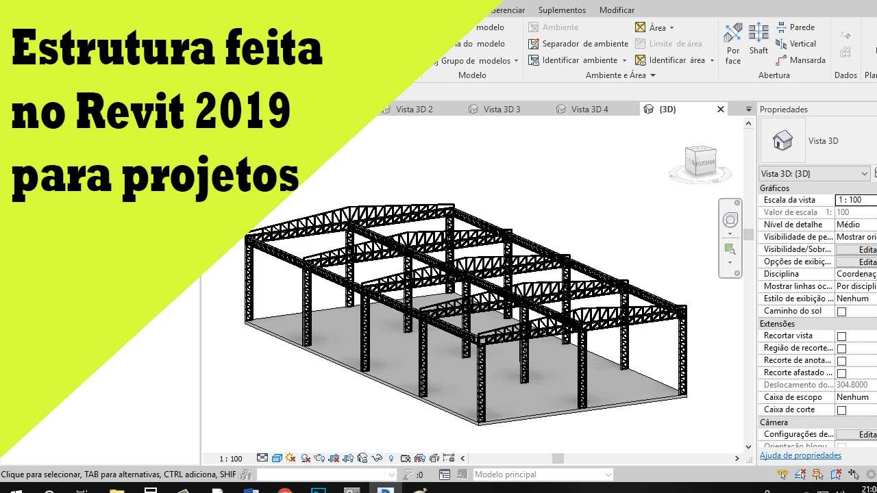 Estrutura feita no Revit 2019 para projetos 1