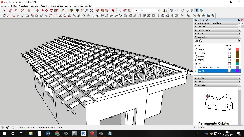 Estrutura telhado Sketchup completo