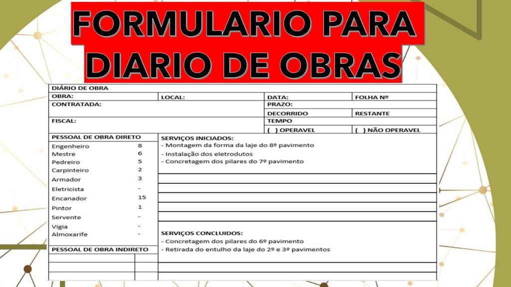 Formulário para fazer o diário de obra